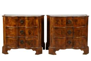 PAIR OF ITALIAN WALNUT PARQUETRY COMMODES