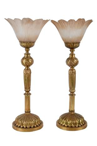 PAIR OF GILT METAL & GLASS TABLE LAMPS