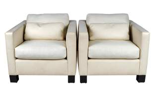 PAIR OF A. RUDIN LEATHER CLUB CHAIRS
