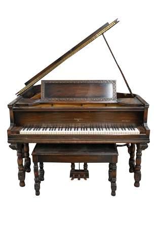 SOHMER & CO. MEDITERRANEAN-CASE WALNUT GRAND PIANO