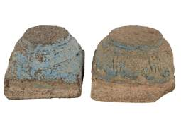 PAIR OF CARVED STONE TEMPLE FRAGMENTS