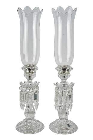 PAIR OF BACCARAT GLASS CANDELABRA