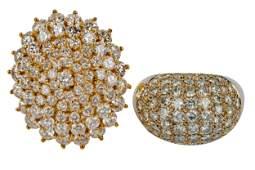 TWO 14 KARAT GOLD & DIAMOND CLUSTER RINGS