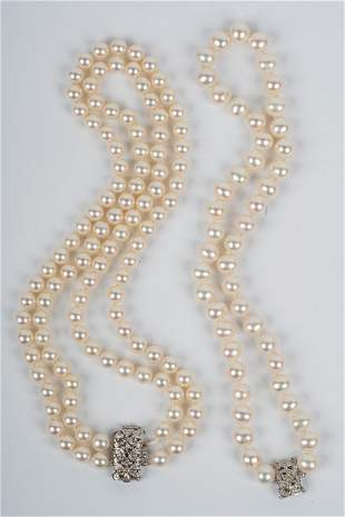 TWO 18 KARAT WHITE GOLD, DIAMOND, & PEARL NECKLACES