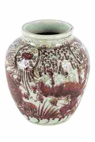 CHINESE COPPER GLAZED CERAMIC VASE