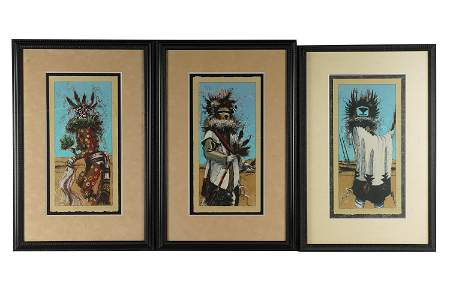 LARRY FODOR (B.1951): THREE KACHINA DANCER PRINTS