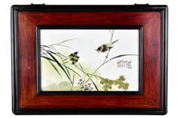 CHINESE PORCELAIN PLAQUE WITH THREE BIRDS IN WOOD FRAME