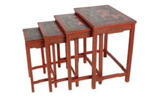 NEST OF LACQUERED CHINESE TABLES