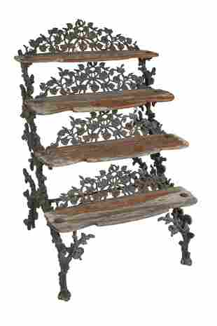 IRON & WOOD TIERED PLANT STAND