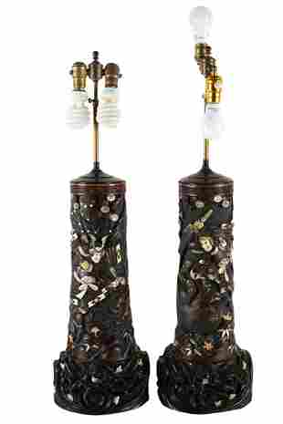 PAIR OF JAPANESE CARVED WOOD & INLAID TABLE LAMPS