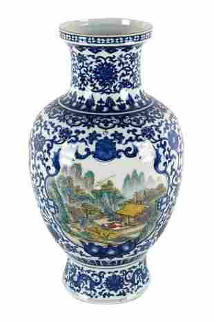 CHINESE BLUE & WHITE PORCEALIN CALLIGRAPHY VASE