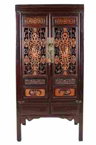 CHINESE CARVED TWO-DOOR CABINET
