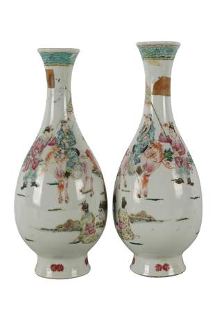 PAIR OF CHINESE FAMILLE VERTE PORCELAIN VASES