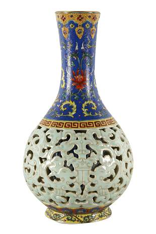 CHINESE RETICULATED PORCELAIN VASE