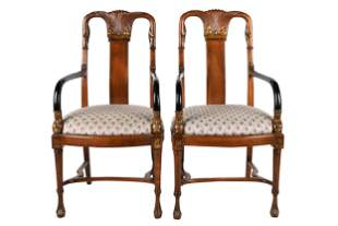 PAIR OF WALNUT PAINTED ARMCHAIRS