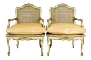 PAIR OF FRENCH CANE BACK FAUTEUILS