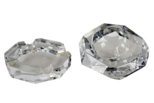 TWO BACCARAT CRYSTAL ASH TRAYS