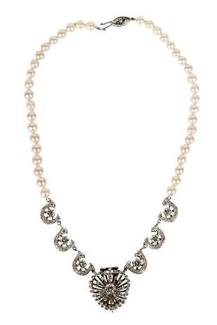 14 KARAT WHITE GOLD, DIAMOND, & PEARL PENDANT NECKLACE