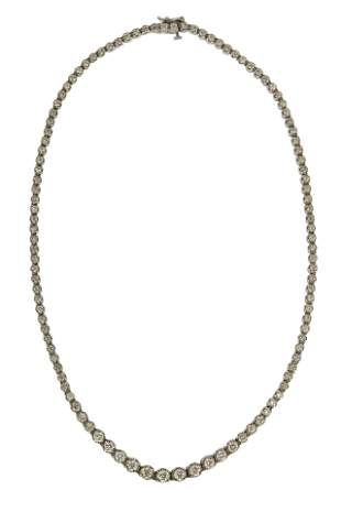 14 KARAT WHITE GOLD & DIAMOND RIVIERE NECKLACE