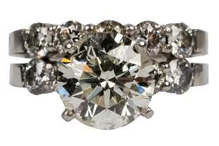 PLATINUM & DIAMOND ENGAGEMENT RING SET