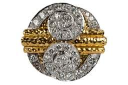 DAVID WEBB 18 KARAT YELLOW GOLD, PLATINUM, & DIAMOND