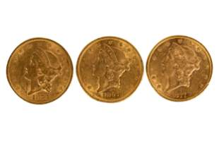 GROUP OF THREE US 'LIBERTY DOUBLE EAGLE' $20 GOLD COINS