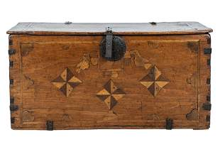 COLONIAL IRON-BOUND INLAID WOOD TRUNK