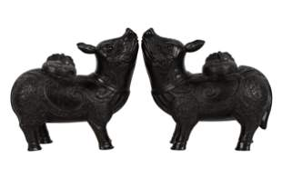 PAIR OF CHINESE BRONZE FIGURAL CENSERS