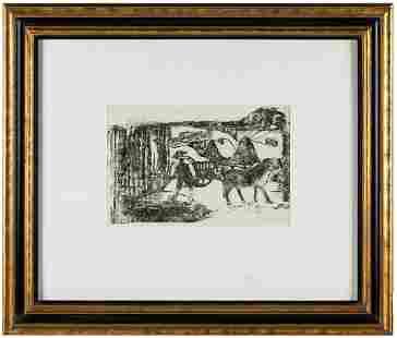 """PAUL GAUGUIN (1848-1903): """"LE CHAR A BOEUFS - SOUVENIR"""