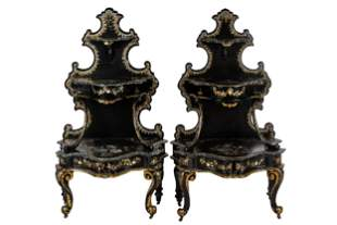 PAIR OF INLAID & LACQUERED WOOD ETAGERES