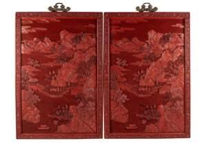PAIR OF CHINESE CINNABAR PANELS