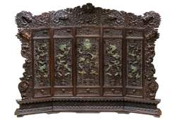 CHINESE RELIEF-CARVED FIVE-PANEL SCREEN ON STAND