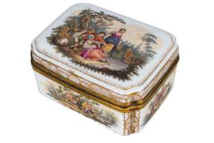 FRENCH PORCELAIN SEWING BOX