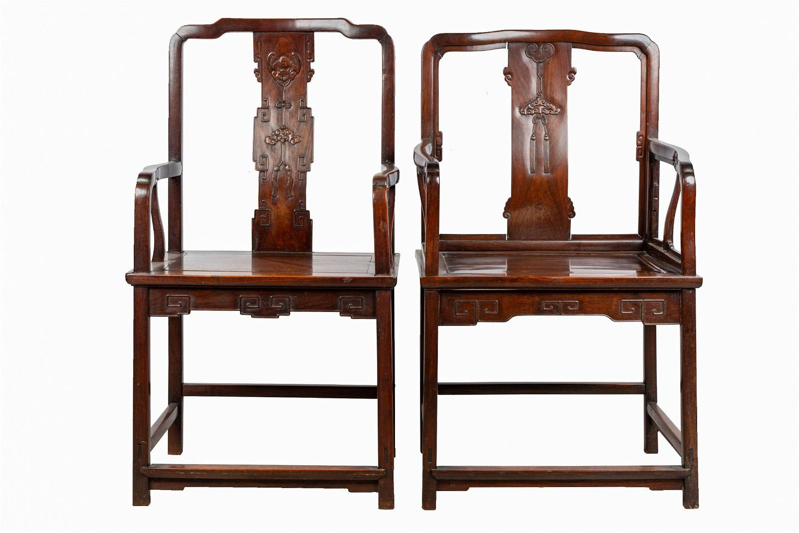TWO CHINESE CARVED HARDWOOD ARMCHAIRS