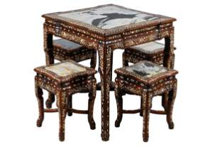 CHINESE MARBLE-INSET ROSEWOOD TABLE & STOOLS