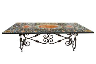 SPECIMEN MARBLE & WROUGHT IRON DINING TABLE