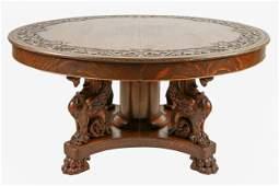 CARVED OAK TABLE