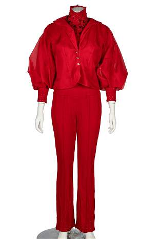 CAROL CHANNING RED PANT SUIT