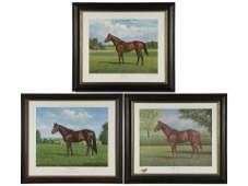 RICHARD STONE HUGHES: THREE HORSE LITHOGRAPHS