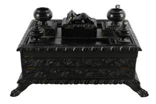 ANGLO-INDIAN CARVED & EBONIZED INK STAND