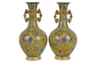 PAIR OF CHINESE STYLE PORCELAIN VASES