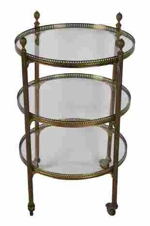 NEOCLASSIC BRASS & GLASS END TABLE