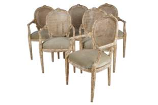 SIX FAUX BOIS CARVED & PAINTED WOOD ARMCHAIRS