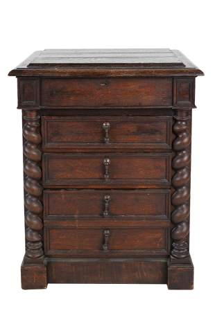 ITALIAN BAROQUE STYLE OAK CHEST OF DRAWERS