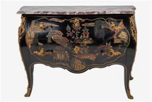 FRENCH GILT BRONZE-MOUNTED LACQUER CHINOISERIE COMMODE