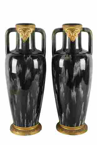 PAIR OF LARGE ART-DECO STYLE POTTERY VASES