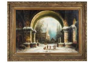 ALBERT BREDOW (1828 - 1899): MONASTERY COURTYARD SCENE