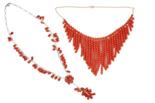 TWO GOLD & CORAL NECKLACES
