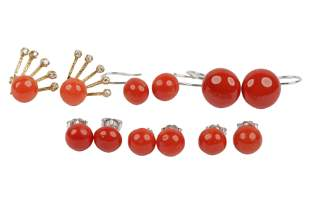 SIX PAIRS OF GOLD & CORAL EARRINGS