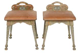 PAIR OF MONTEREY-STYLE PAINTED WOOD STOOLS